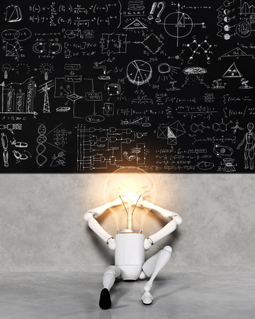 a seated relaxed lamp character with the bulb light switched on is leaning to the wall, over him there is a blackboard that shows many solutions and ideas for many things written with a chalk