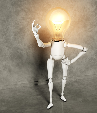 a standing lamp character with the bulb light switched on shows the ok sign with his right hand, on a floor and a wall of gray abstract