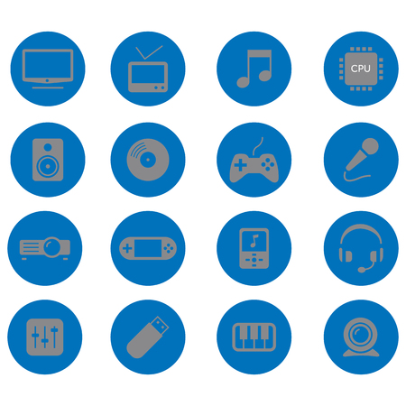 Set of 16 vector icons representing various electronic devices and gadgets
