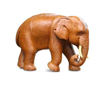 wood carving: Wooden statuette of elephant