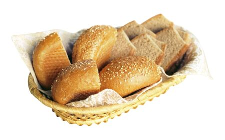 pone: Basket with two kinds of bread isolated on white background