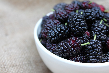 Black mulberries in a bowl on hessian background photo