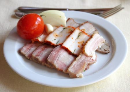 Sliced lard. Ukrainian traditional appetizer.