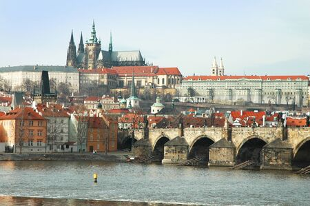 Prague. View on St. Vitus cathedral and Charles bridge Stock Photo - 16302403