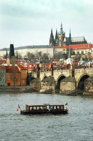 Prague. View on St. Vitus cathedral and Charles bridge Stock Photo - 16302401