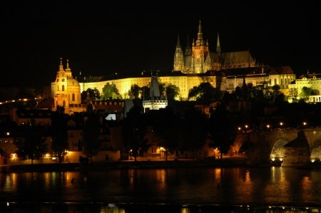 Night view on Castle District of Prague, Czech Republic