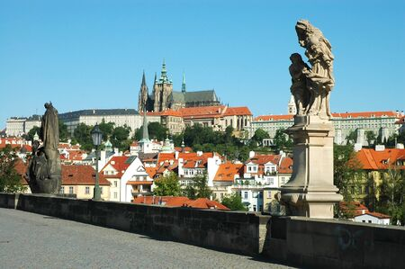 Statues on Charles bridge, Prague Stock Photo