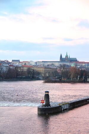 Beacon on the Vltava river against old Prague view Stock Photo - 17644308