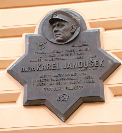Memorial plaque to Janousek in Prague, Czech republic