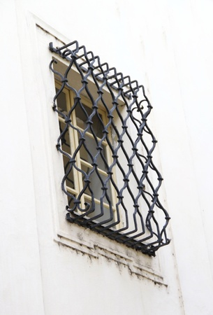 lattice window: Window grid as an element of architecture, Prague, Czech republic Stock Photo