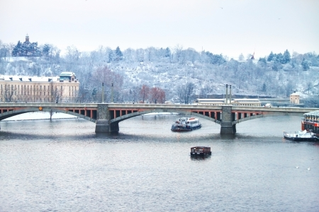 One of Prague bridges over Vltava river, view from Charles bridge Stock Photo - 17644479