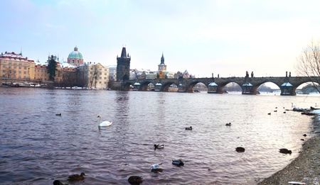 View on Charles bridge from Vltava riverside, Prague, Czech republic Stock Photo - 17644535