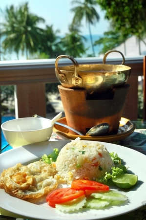 open air: Dinner served in the open air in tropics
