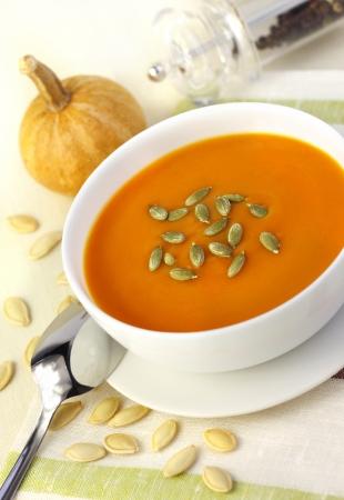 Pumpkin cream soup with pumpkin seeds Stock Photo - 18729507