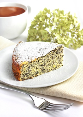 Lemon cake with poppy seeds Stock Photo