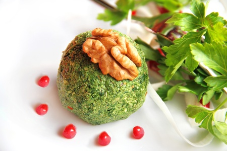 Pkhali - balls from the leaves of beets, spinach, and walnuts. Georgian cuisine.
