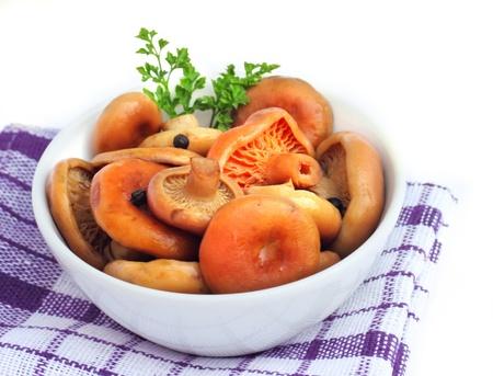 milkcap: Marinated saffron milk cap mushrooms Stock Photo