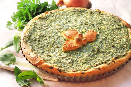 Sorrel tart with goat cheese Stock Photo