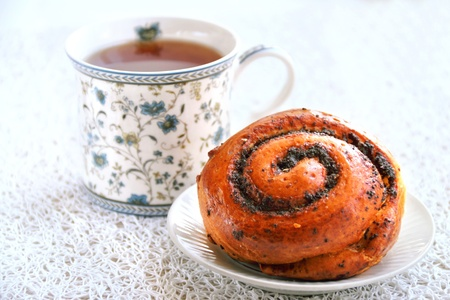 french roll: French roll with poppy seeds and cinnamon Stock Photo