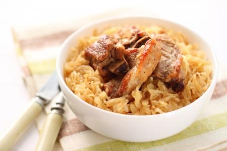 Pork ribs baked with sauerkraut Stock Photo - 19874901