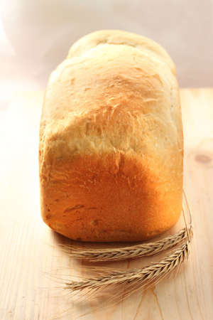 Homemade loaf of wheat bread baked in breadmaker