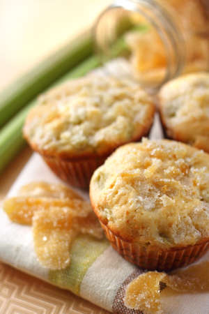 sugared: Rhubarb muffins with sugared ginger