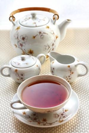delftware: Tea set con una tazza di t� Archivio Fotografico