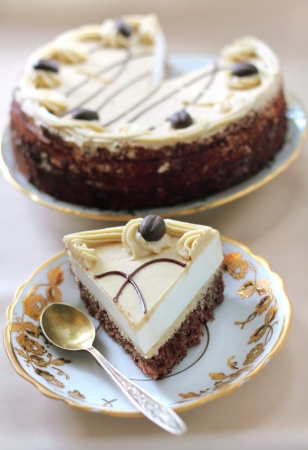 Cappuccino cake with chocolate biscuit and butter cream photo