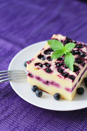 Baked cottage cheese pudding with blueberries photo