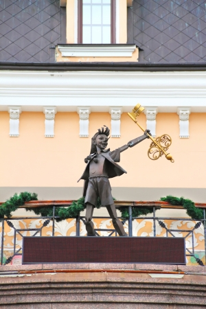 KIEV, UKRAINE - JULY 20: Pinocchio. Bronze statue of character from fairy tale The Golden Key, or the Adventures of Pinocchio. Photo taken near the Kiev Academic Puppet Theater on July 20, 2013.
