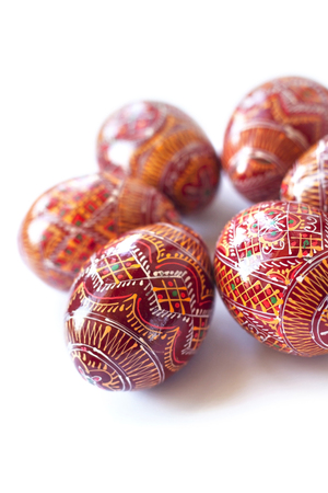 Pysanky - Ukrainian handmade painted Easter eggs on white background photo