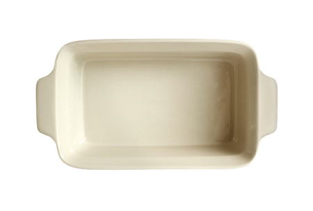 Ceramic baking dish isolated on white background with clipping path