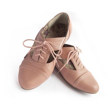 Pair of female shoe on white background Stock Photo