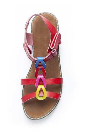 Top view on colorful female sandal