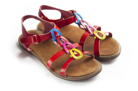 Pair of colorful female sandals Stock Photo