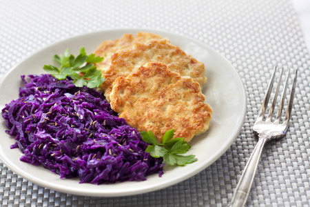 caraway: Chicken fritters and stewed red cabbage with caraway seeds