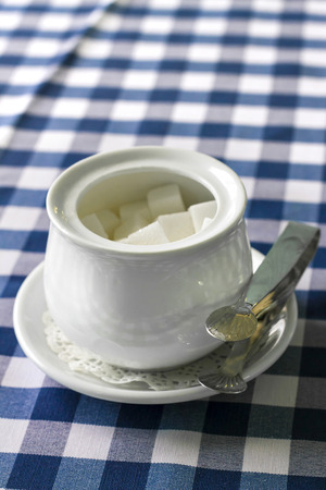 Sugar-bowl with a lump sugar on a table covered with a checkered tablecloth