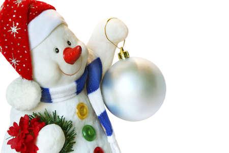 inmejorablemente: �Navidad Feliz! Este deseo de m� y de este snowball encantador. Se a�sla en un fondo blanco. Idealmente para su uso.