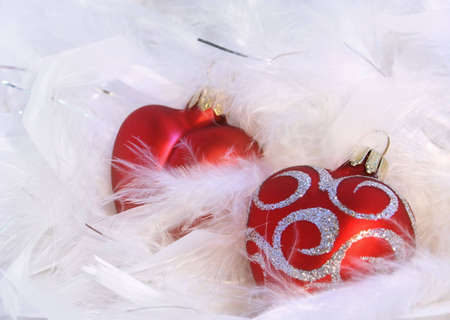feathery: Red hearts and white feathery background