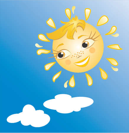 The sun smiles. Beautiful and kind sun's smile. A vector. Stock Vector - 712111