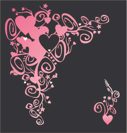vector  love: Heart of love. It is vector. You easily can change colour or size. Plus an in addition decorative element on the right for your use.