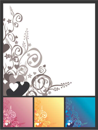 Love andamp,amp, flowers andamp,amp, scrolls background. Vector