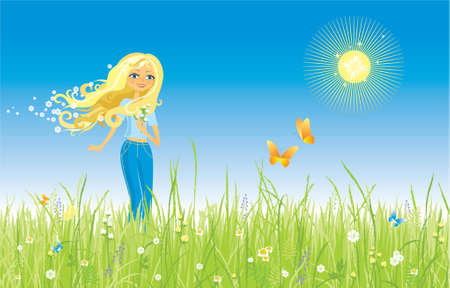 The girl and butterfly. Grass and flowers. Illustration