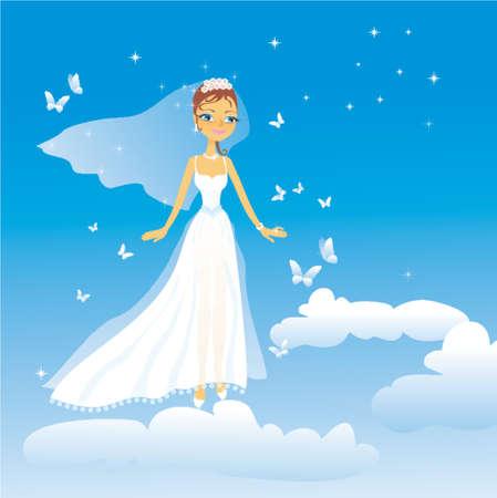 La belle mariée heureux mouches sur les nuages