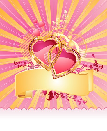 love hearts / with banner and space for your text / valentine /  vector Stock Vector - 2229883
