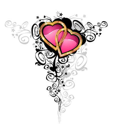 Harten van de liefde / vector Hearts zijn gemaakt van goud en brilliantsContains de gescheiden lagen