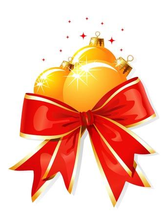 Christmas decoration / bow and balls / vector illustration Vettoriali