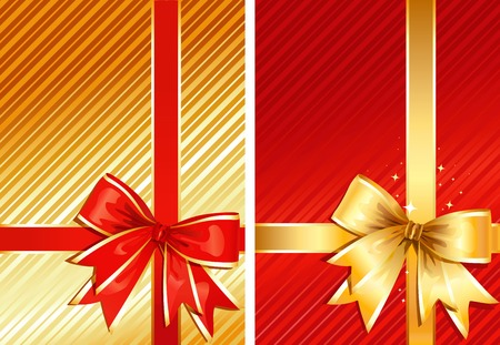 Golden Ribbon & Red Ribbon / two images / vector