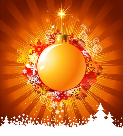 Christmas  with decorations / vector / with copy space for your text