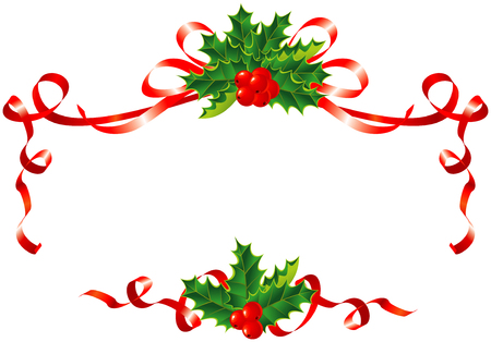 Christmas decoration / holly and ribbons border / vector illustration